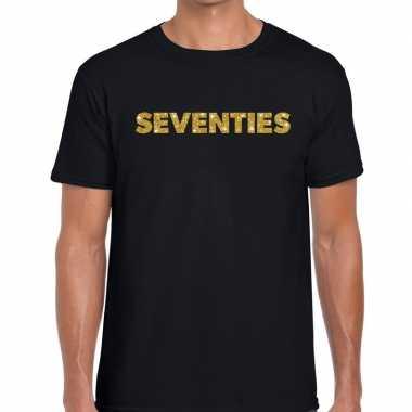 Seventies gouden letters fun t-shirt zwart voor heren