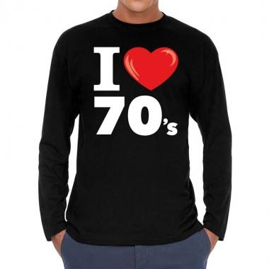 Seventies long sleeve shirt met i love 70s bedrukking zwart voor here