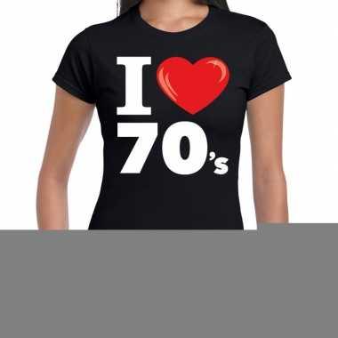 Seventies shirt met i love 70s bedrukking zwart voor dames