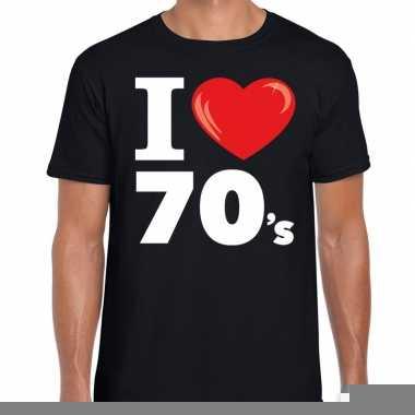 Seventies shirt met i love 70s bedrukking zwart voor heren