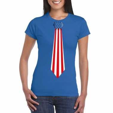 Shirt met amerika stropdas blauw dames