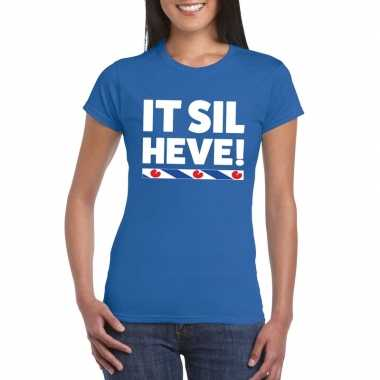 Shirt met friesetekst it sil heve blauw dames