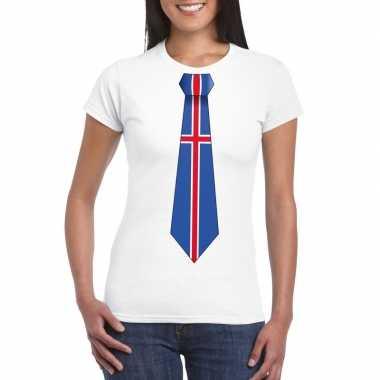 Shirt met ijsland stropdas wit dames