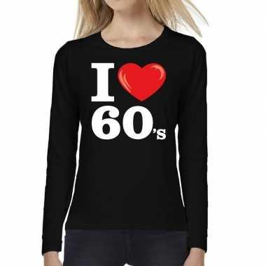 Sixties long sleeve shirt met i love 60s bedrukking zwart voor dames