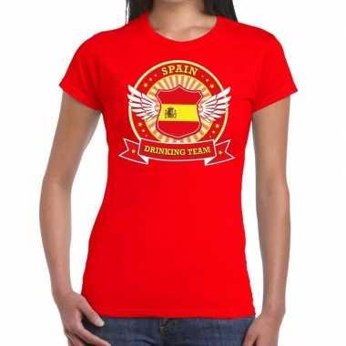 Spain drinking team t-shirt rood dames