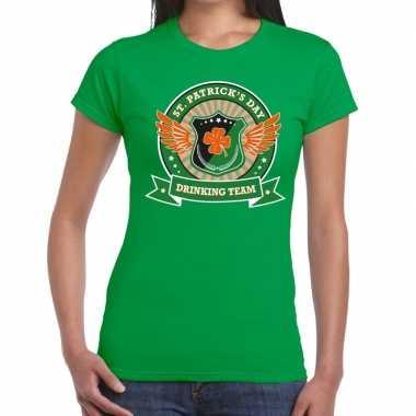 St. patrick's day drinking team t-shirt groen dames