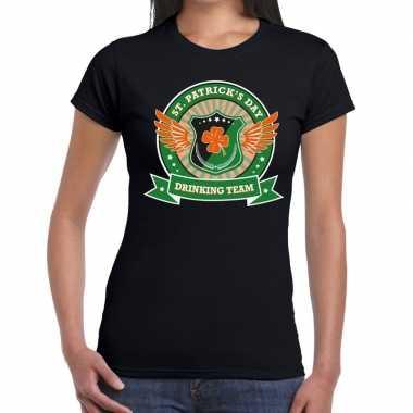 St. patrick's day drinking team t-shirt zwart dames