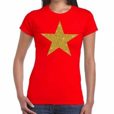 Ster goud fun t-shirt rood voor dames
