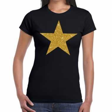 Ster van goud fun t-shirt zwart voor dames