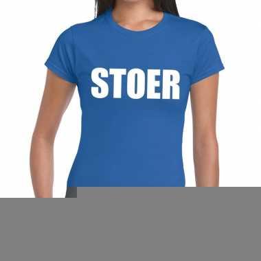 Stoer fun t-shirt blauw voor dames