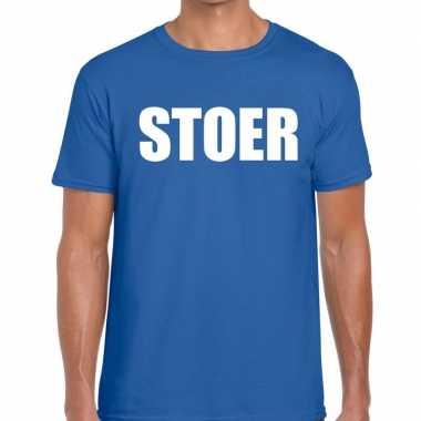 Stoer fun t-shirt blauw voor heren