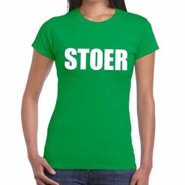 Stoer fun t-shirt groen voor dames