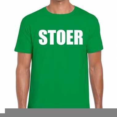 Stoer fun t-shirt groen voor heren