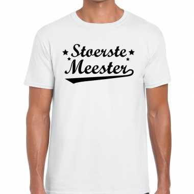 Stoerste meester fun t-shirt wit voor heren