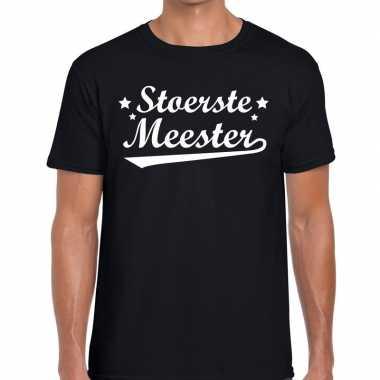 Stoerste meester fun t-shirt zwart voor heren