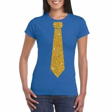 Stropdas t-shirt blauw met glitter das dames
