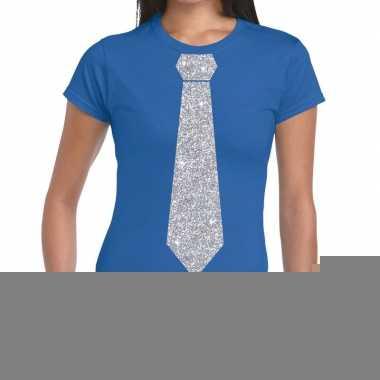 Stropdas t-shirt blauw met zilveren glitter das dames