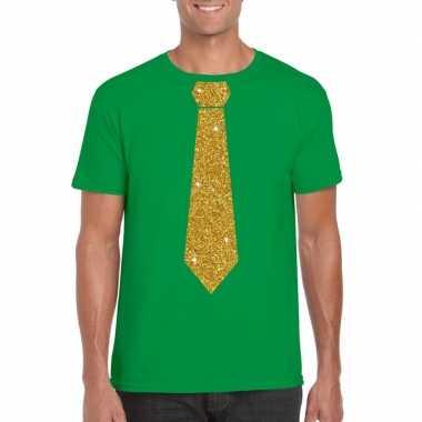 Stropdas t-shirt groen met gouden glitter das heren
