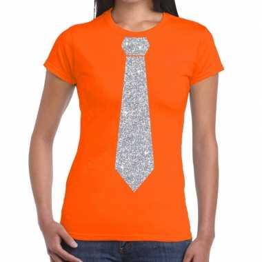 Stropdas t-shirt oranje met zilveren glitter das dames