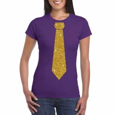 Stropdas t-shirt paars met glitter das dames