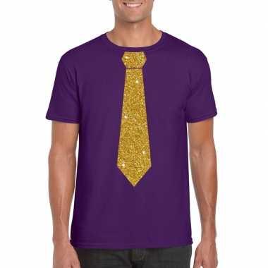 Stropdas t-shirt paars met glitter das heren