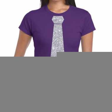 Stropdas t-shirt paars met zilveren glitter das dames