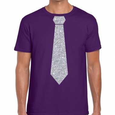 Stropdas t-shirt paars met zilveren glitter das heren
