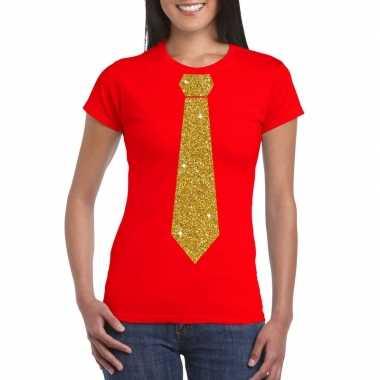Stropdas t-shirt rood met glitter das dames
