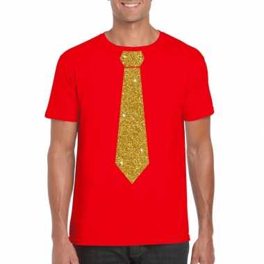 Stropdas t-shirt rood met glitter das heren
