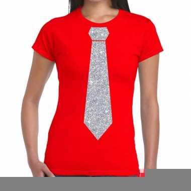 Stropdas t-shirt rood met zilveren glitter das dames