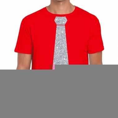 Stropdas t-shirt rood met zilveren glitter das heren