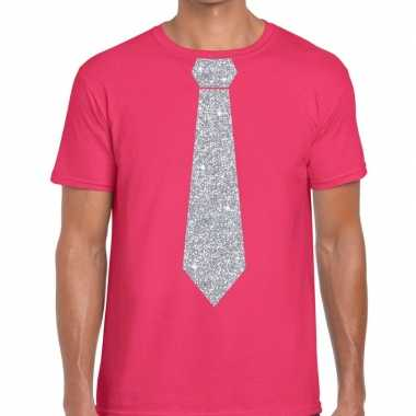 Stropdas t-shirt roze met zilveren glitter das heren