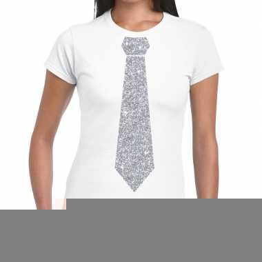 Stropdas t-shirt wit met zilveren glitter das dames