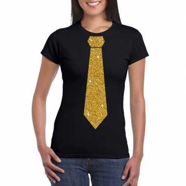Stropdas t-shirt zwart met glitter das dames
