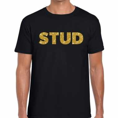 Stud gouden letters fun t-shirt zwart voor heren