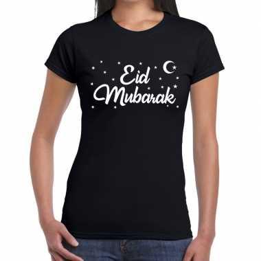 Suikerfeest shirt eid mubarak zwart voor dames