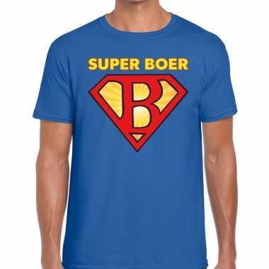 Super boer zwarte cross t-shirt blauw voor heren