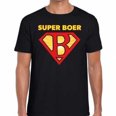 Super boer zwarte cross t-shirt zwart voor heren