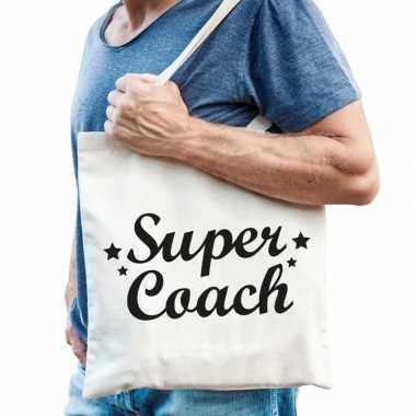 Super coach bedankje cadeau tas katoen