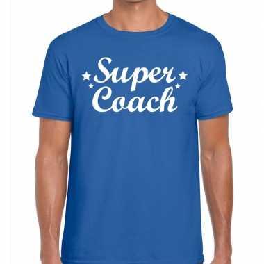 Super coach fun t-shirt blauw voor heren - bedankt cadeau voor een co