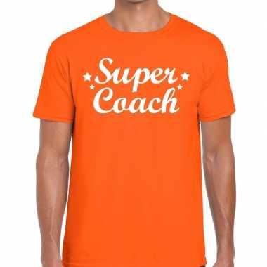 Super coach fun t-shirt oranje voor heren - bedankt cadeau voor een c