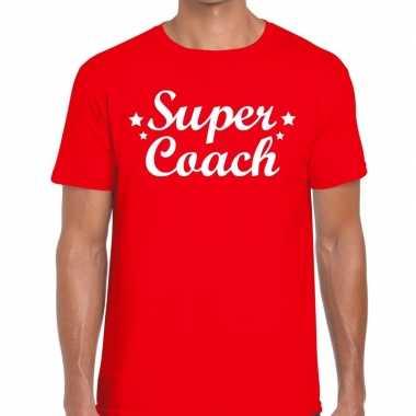 Super coach fun t-shirt rood voor heren - bedankt cadeau voor een coa