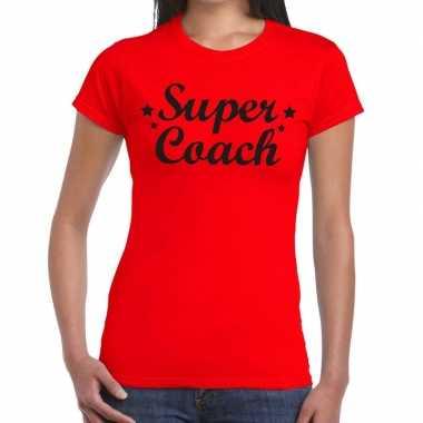 Super coach fun t-shirt rood voor voor dames - bedankt cadeau voor ee
