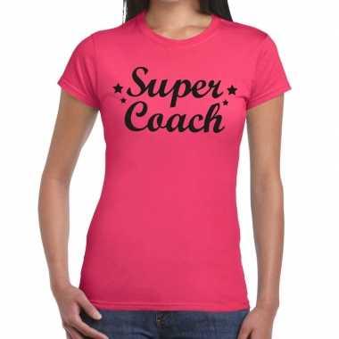 Super coach fun t-shirt roze voor voor dames - bedankt cadeau voor ee