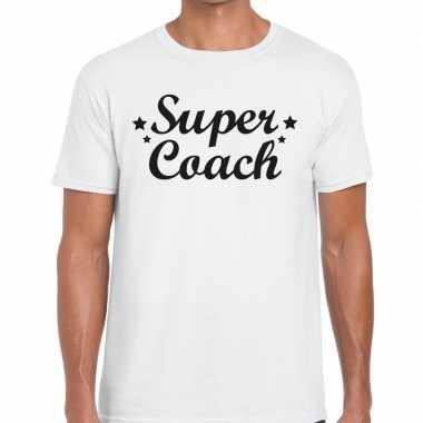 Super coach fun t-shirt wit voor heren - bedankt cadeau voor een coac