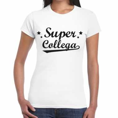 Super collega fun t-shirt wit voor dames