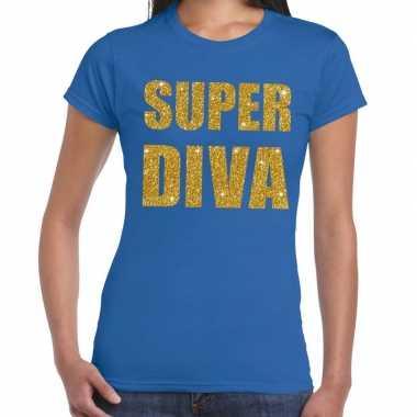 Super diva fun t-shirt blauw voor dames