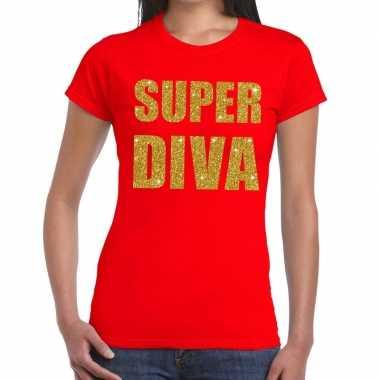 Super diva fun t-shirt rood voor dames