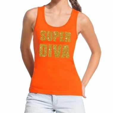 Super diva fun tanktop / mouwloos shirt oranje voor dames