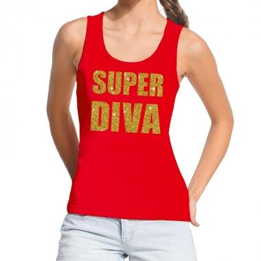 Super diva fun tanktop / mouwloos shirt rood voor dames